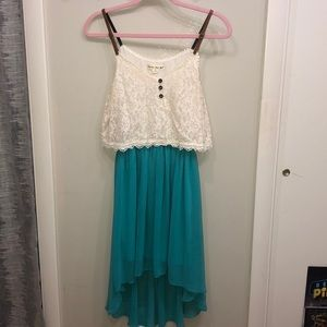 High/low teal and cream dress
